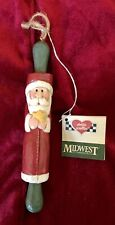 Eddie Walker Midwest Of Cannon Falls Mini Santa Rolling Pin Ornament With Tag