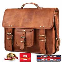 Genuine Men's Vintage Brown Leather Messenger Bag Shoulder Laptop Bag Briefcase