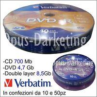 CD DVD DUAL LAYER DOUBLE VERGINE VERBATIM 10 50 pz 8,5 GIGA GB 52x A SCELTA