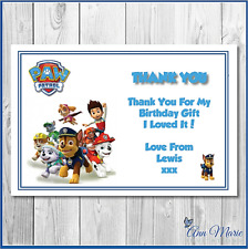 10 x PERSONALISED BIRTHDAY THANK YOU  PAW PATROL CARDS THANKS GIFT PARTY