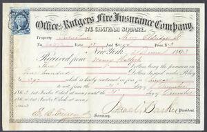 Scott No. R36c on Rutgers Fire Insurance Document, Dec 21, 1863