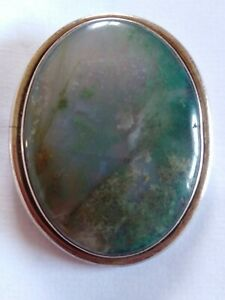 Large Oval Sterling Silver Moss Agate Pendant Vintage