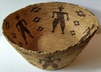 LARGE VINTAGE PAPAGO INDIAN BASKET WITH COWBOYS