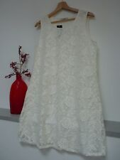 Ladies Lovely George Cream Floral Crochet Lined Midi Shift Dress Size 12, Bnwt