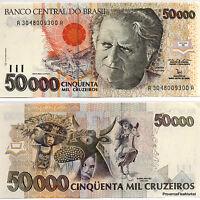 BRESIL billet neuf 50000 CRUZEIROS Pick234a CAMARA CASCUDO DANSE FOLKLO 1992