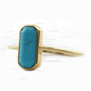 Baguette Turquoise Gemstone 14K Solid Yellow Gold Big Solitaire Ring Jewelry