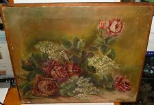 WELLING OLD 19TH CENTURY ROSES OIL ON CANVAS PAINTING