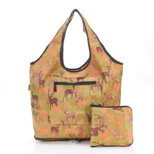 Eco Chic Green Deer Print Folding Weekend Or Shopping Bag