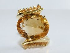 GENUINE 8.52ct! Brazilian Citrine Oval/Round Cut Ring Solid Sterling Silver 925