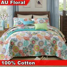 Quilted Vintage Cotton Bedspread Coverlet Throw Rug Blanket Queen King Size 3PCS