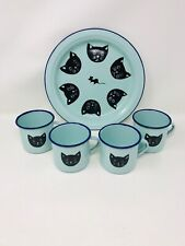 Enameled Tin Turquoise Black Cat Cups & Plate