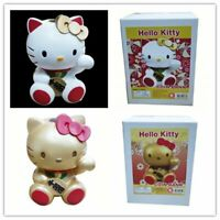 JAPN SANRIO HELLO KITTY LUCKY CAT POLYRESIN COIN BANK WHITE/GOLD