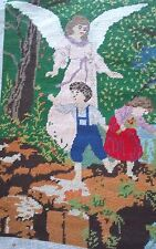 Vintage Austrian needlepoint Guardian angel children completed 15 by 19 inches
