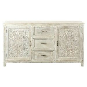 Made to Order Floral Hand Carved Solid wood Sideboard Whitewash L