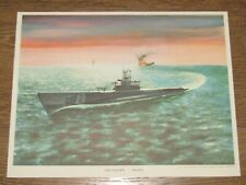 Original Vintage Art Color Print Uss Flasher Ss 249 Submarine Launched in 1943