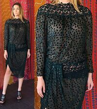 Vintage 80s Sequin Silk Nwt Lace Metallic Beaded Party Cocktail Evening