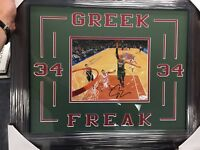 1/1 Giannis Antetokounmpo Framed 16x20 Signed Photo JSA COA Auto Greek Freak