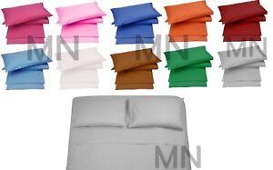 Completo letto cotone matrimoniale lenzuola tinta unita sotto+sopra+2federe