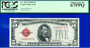 Near TOP POP - 1928-D $5 US Note (( 2nd Finest Red Seal )) PCGS 67PPQ # 956172A-