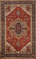 Geometric Heriz Hand-knotted Oriental Area Rug Traditional Wool Carpet 6x9 ft