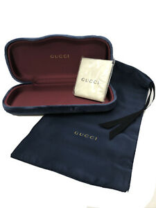NEW Gucci Navy Blue Velvet Large Eyeglasses Case With Dust Cover And Cloth