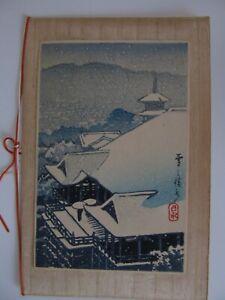 Kawase Hasui Japanese Woodblock Print holiday card Kiyomizu Temple in Snow