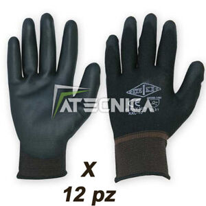 12 paia di guanti da lavoro Logica FLEXYN3 in poliestere spalmato PU tg 6/11