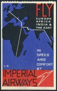 1935c Imperial Airways Propaganda Label T. Lee-Elliott