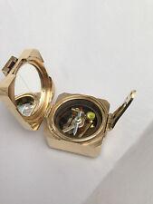 Brass brunton compass nautical surveying level compas avec boîte en bois
