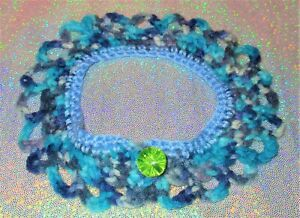 NECK COLLAR Multi blues/green for Dolls or Pet Costume scarf dog cat crochet