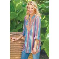Soft Surroundings Large Turin Tunic Top Stripe Embroidered Beaded Blue Orange