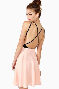 Nasty Gal Sweetheart Dark Delight Ballerina Skater Dress Pink Open Back Size XS
