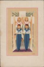 IMAGE PIEUSE SANTINI HOLY CARD - DEUX COMMUNIANTS HABIT DE MARIN-CIERGES/ANGES