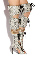 Privileged Rocker Thigh High Boot Lace Up Gladiator Boots