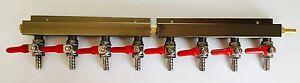"Beer Tap Kegerator Co2 Nitrogen Gas Regulator 8 way Spliter Kegerator 5/16"" Barb"