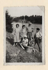 PHOTO ANCIENNE Pêcheur Famille Panier en osier Vers 1930 Bourriche de pêche