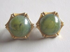 Lovely Vintage 1980's Gold Tone & Faux Jade Clip On Earrings
