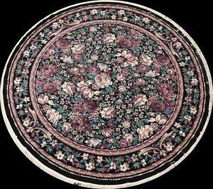 Floral Turkish Aubusson Oriental Area Rug 8x8 ft Black Round Living Room Carpet