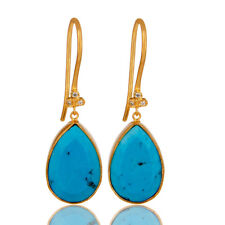 Handmade Turquoise CZ Dangle Earrings 18K Gold Plated Brass Fashion Jewelry