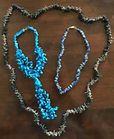 TOP-TIPP! Tolles Set KORALLEN-Stil Ketten: schwarz grün beige blau Azurblau 3tlg