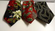 YULE TIE GREETINGS/BRIAR Lot Of 3 Red Green Blue Black Silk Neckties GG8585