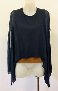 LUIS BUCHINHO Blue / Mustard Draped Sleeveless Blouse Ladies EU 36 AU 8 Portugal