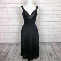 Vintage Lace Nightgown Black Sz 34B Slightly Tart By Tina Negligee Lingerie Slip