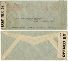 SOUTH AFRICA METER FRANKING WW2 CENSORED HILL + MURRAY PRINTED ENV 24 SEPT 1941