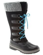 Women's Sock Top Winter Boots Black Size 7W By Lane Bryant