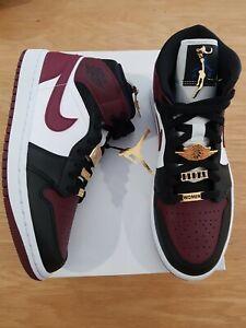 Nike Air Jordan 1 AJ1 Mid SE Women US W 9 'Black Dark Beetroot' 'Gold Pendant'