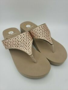 Yellow Box Glam Thong Sandal Mellow Mat Wedge Pink Jewel Women Size 10 Flip Flop