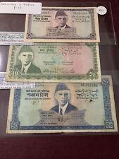 Pakistan 50 10 5 Rupee - 1967 P 17 16 15 VF-F