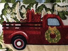 Rustic Red Farmhouse Pickup Truck with Tree Accent Pillow Embroidered