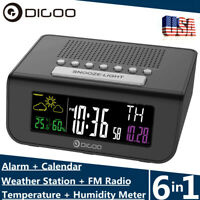 Digoo Digital Dual Alarm Clock FM Radio Weather Forecast Humidity Temperature US